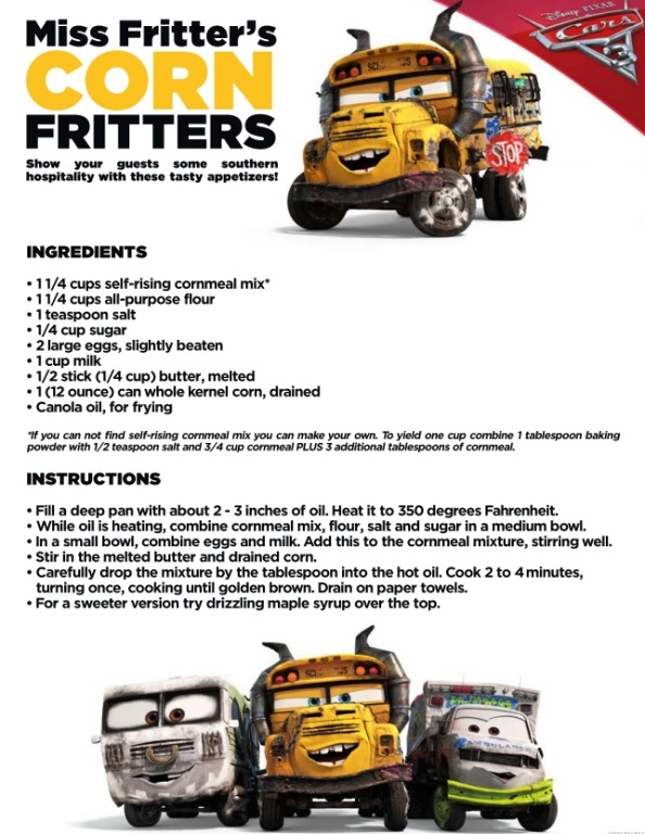 Miss Fritters Corn Fritters, Cars 3 Movie, Lightning McQueen