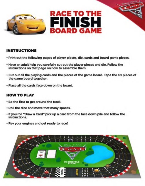Cars 3 Movie, Lightning McQueen, Race to the Finish Board Game