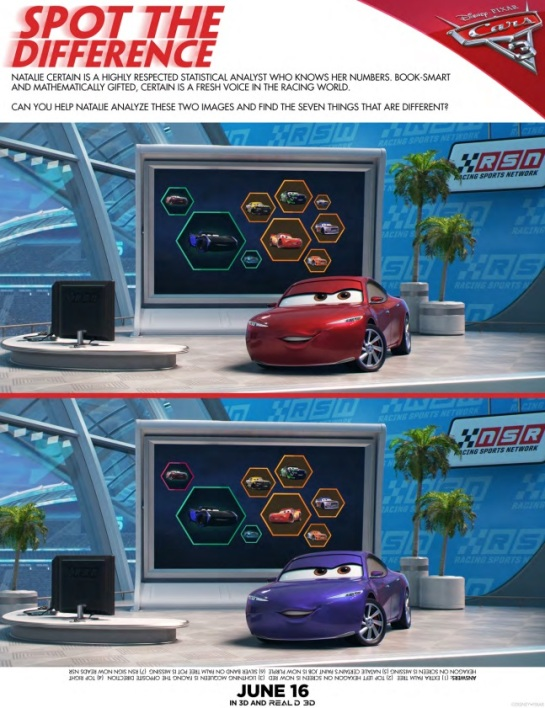 Cars 3 Movie, Spot the Difference, Lightning McQueen